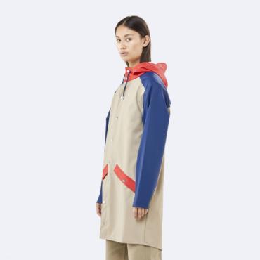 rains color block long jacket beige klein blue