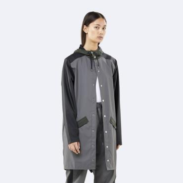 rains color block long jacket charcoal black