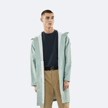 rains long jacket dusty mint