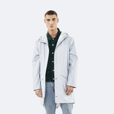 rains long jacket metallic ice grey