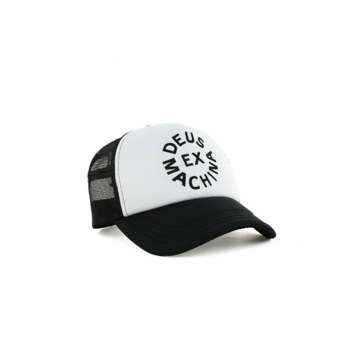 deus circle logo trucker black white