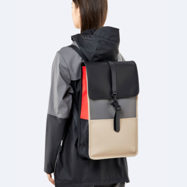 rains color block backpack black beige