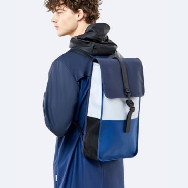 rains color block backpack blue ice grey