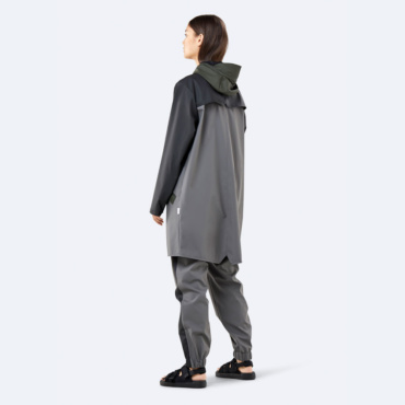 rains color block long jacket charcoal black