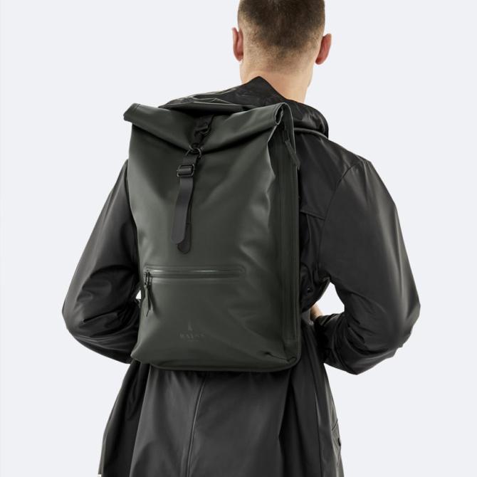 rains rolltop rucksack black