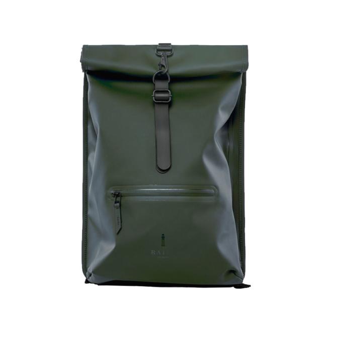 rains rolltop rucksack green