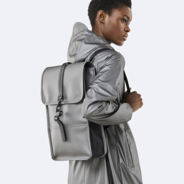 rains backpack mini metallic charcoal