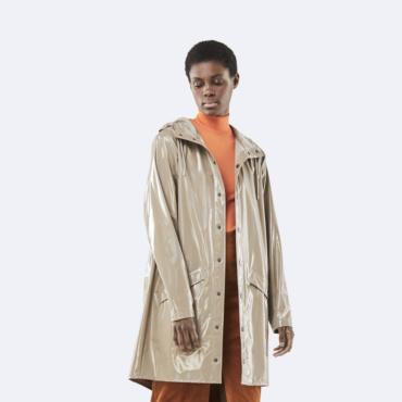 rains holographic long jacket beige