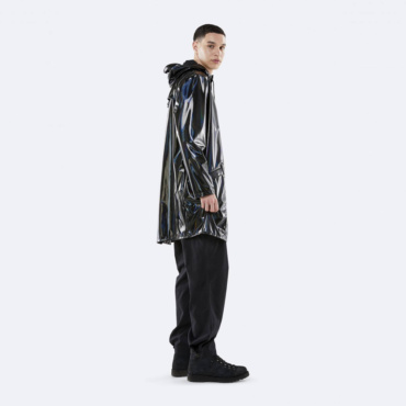 rains holographic long jacket black