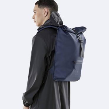 rains rolltop rucksack blue