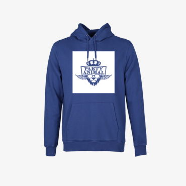 party animal signature hoodie royal blue