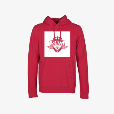 party animal signature hoodie scarlet red