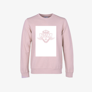 party animal signature sweatshirt lava grey faded pink
