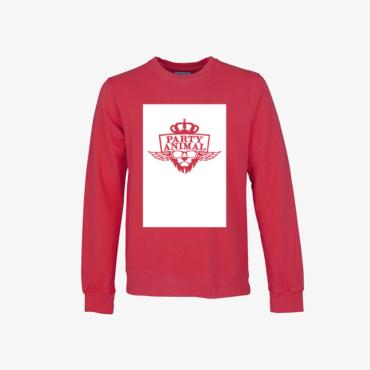party animal signature sweatshirt scarlet red
