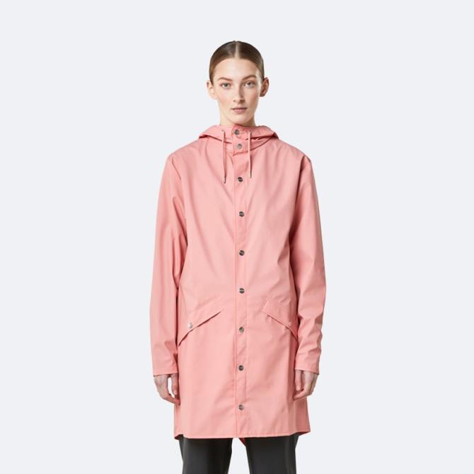 rains long jacket coral