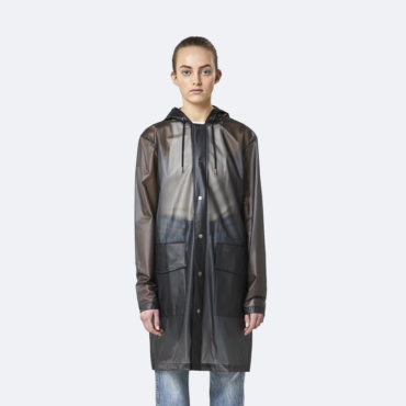 rains transparent hooded coat foggy black