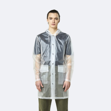 rains transparent hooded coat foggy white