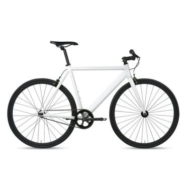 6ku track fixie single speed bike white