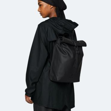 rains rolltop rucksack mini black